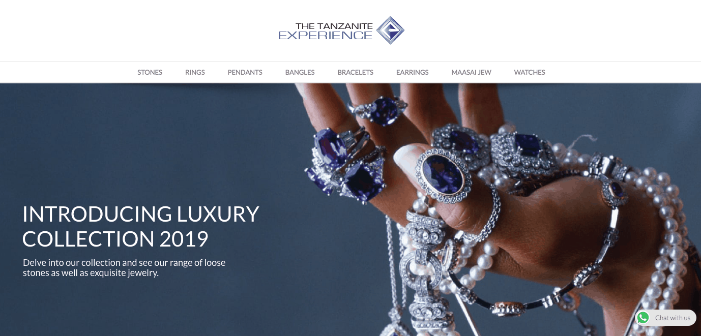 A photo of the Tanzanite experience online store; an online Tanzanite jewelry seller
