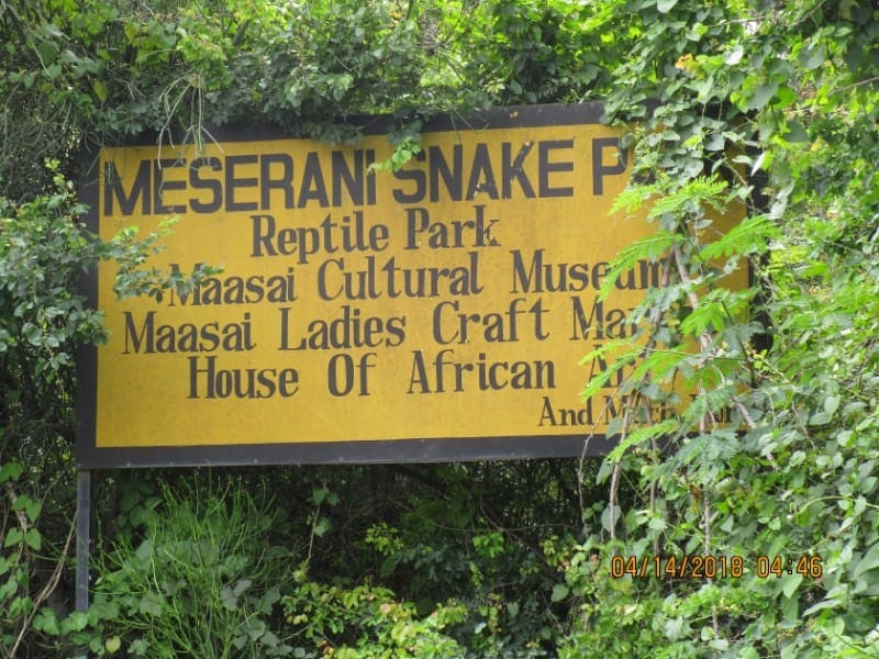 Meserani snake park sign in Arusha