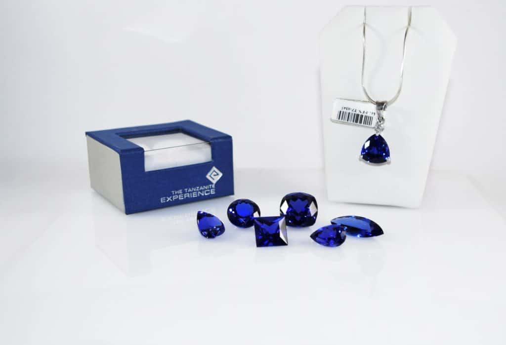 raw tanzanite and tanzanite jewelry on display