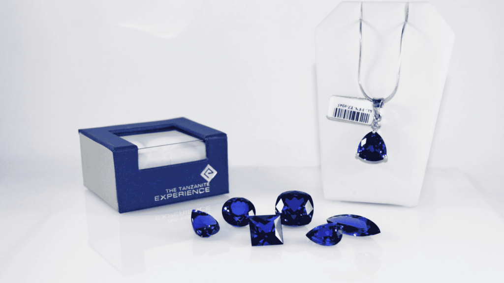 A collection of different tanzanite jewelry
