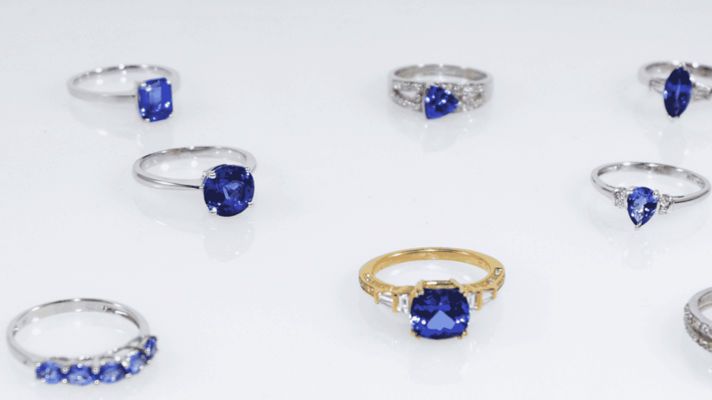 collection of different Tanzanite rings