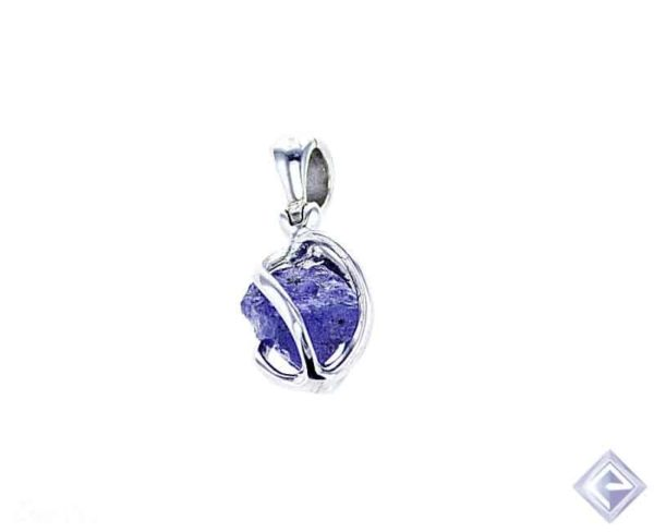 AA ROUGH CUT TANZANITE ENCASED IN  SILVER PENDANT 1