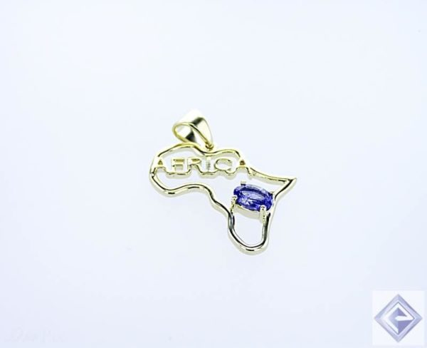 AFRICA OUTLINE YELLOW GOLD PENDANT WITH OVAL bVM TANZANITE STONE 1