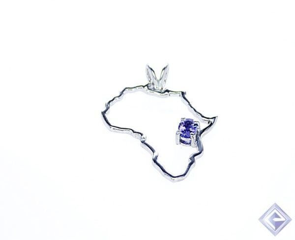 SILVER AFRICA SHAPED PENDANT WITH OVAL bVM TANZANITE STONE 1