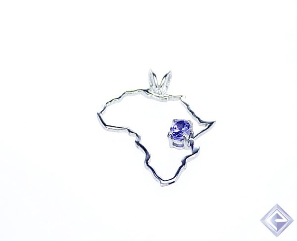 OVAL bVL TANZANITE STONE HELD IN SILVER AFRICA SHAPED PENDANT 1