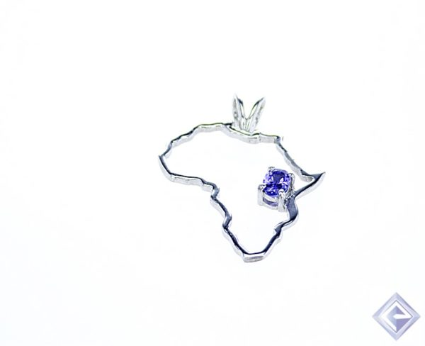 SILVER AFRICA SHAPED PENDANT WITH OVAL bVI TANZANITE CENTERPIECE 1