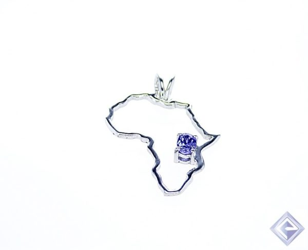 OVAL bVL TANZANITE CENTERPIECE IN SILVER AFRICA SHAPED PENDANT 1