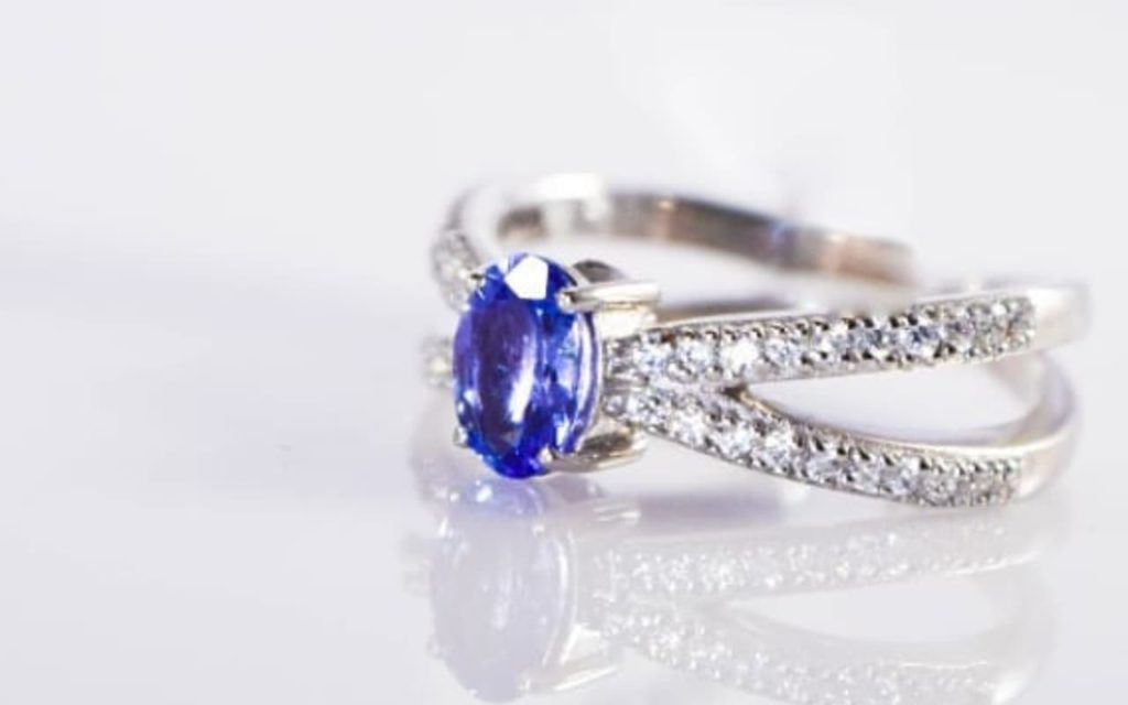 Tanzanite ring on display