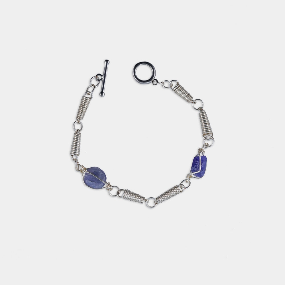 Maasai Bracelet with 2 Tanzanite Stones