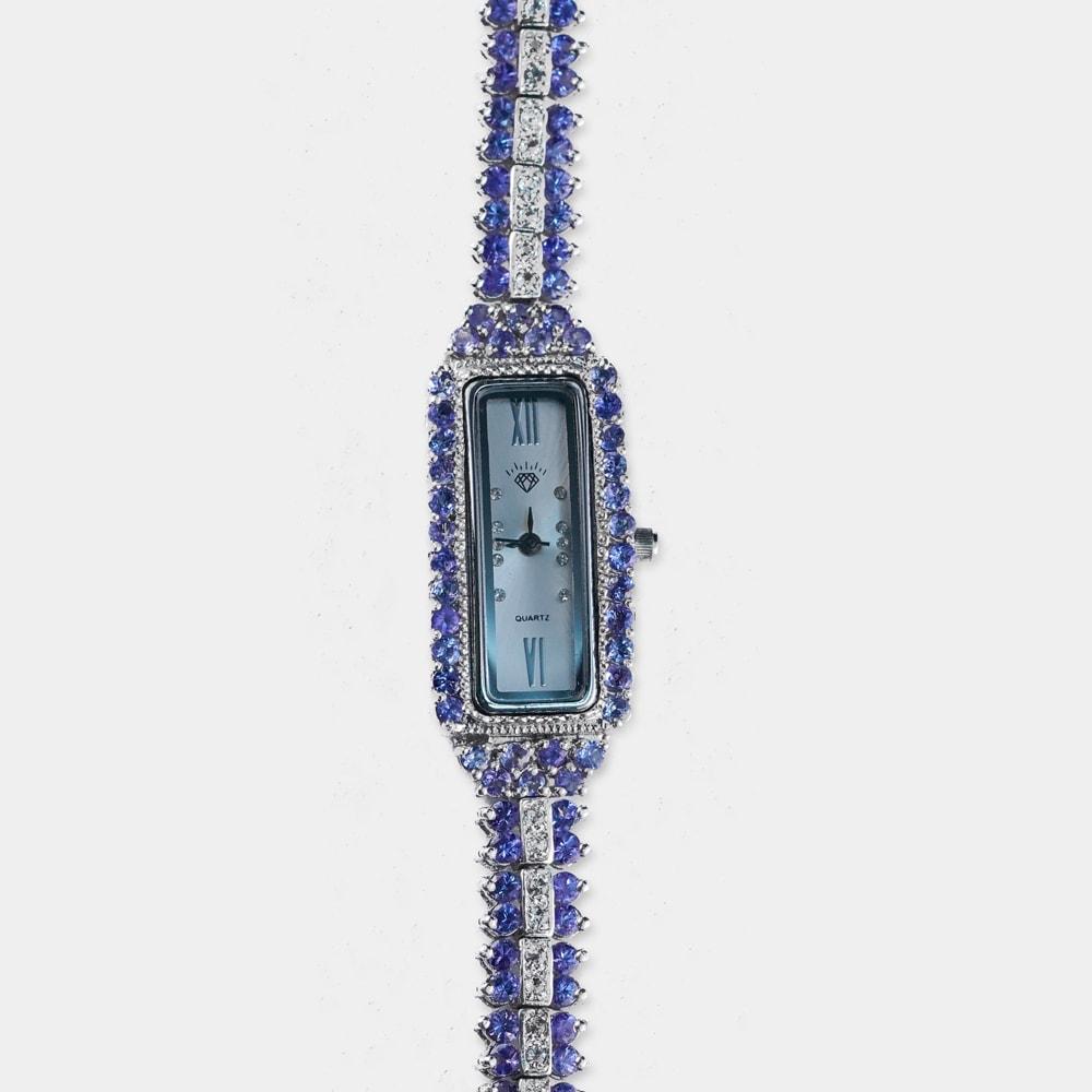 6 Carats Round Shape Tanzanite Silver Watch