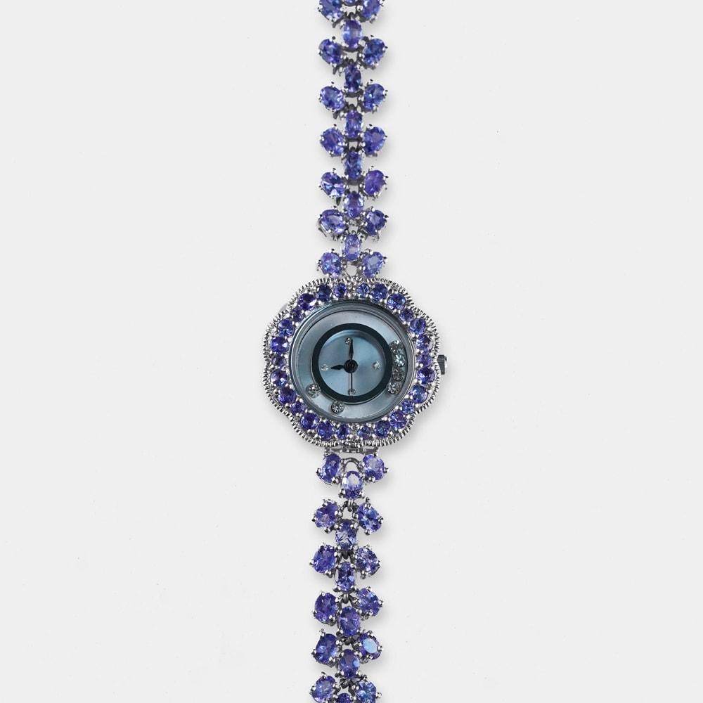 17 Carats Round/Oval Shape Tanzanite Silver Watch