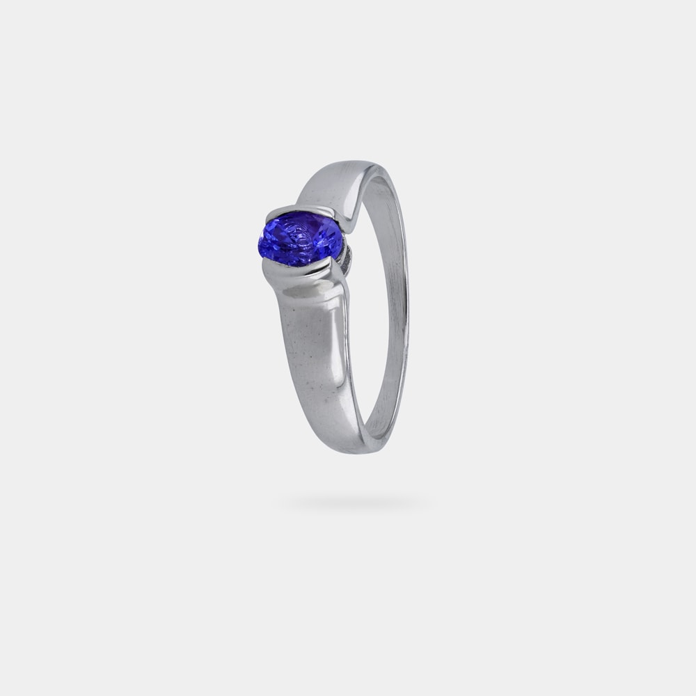 0.49 Carats Oval Shaped Ring with Silver Metal