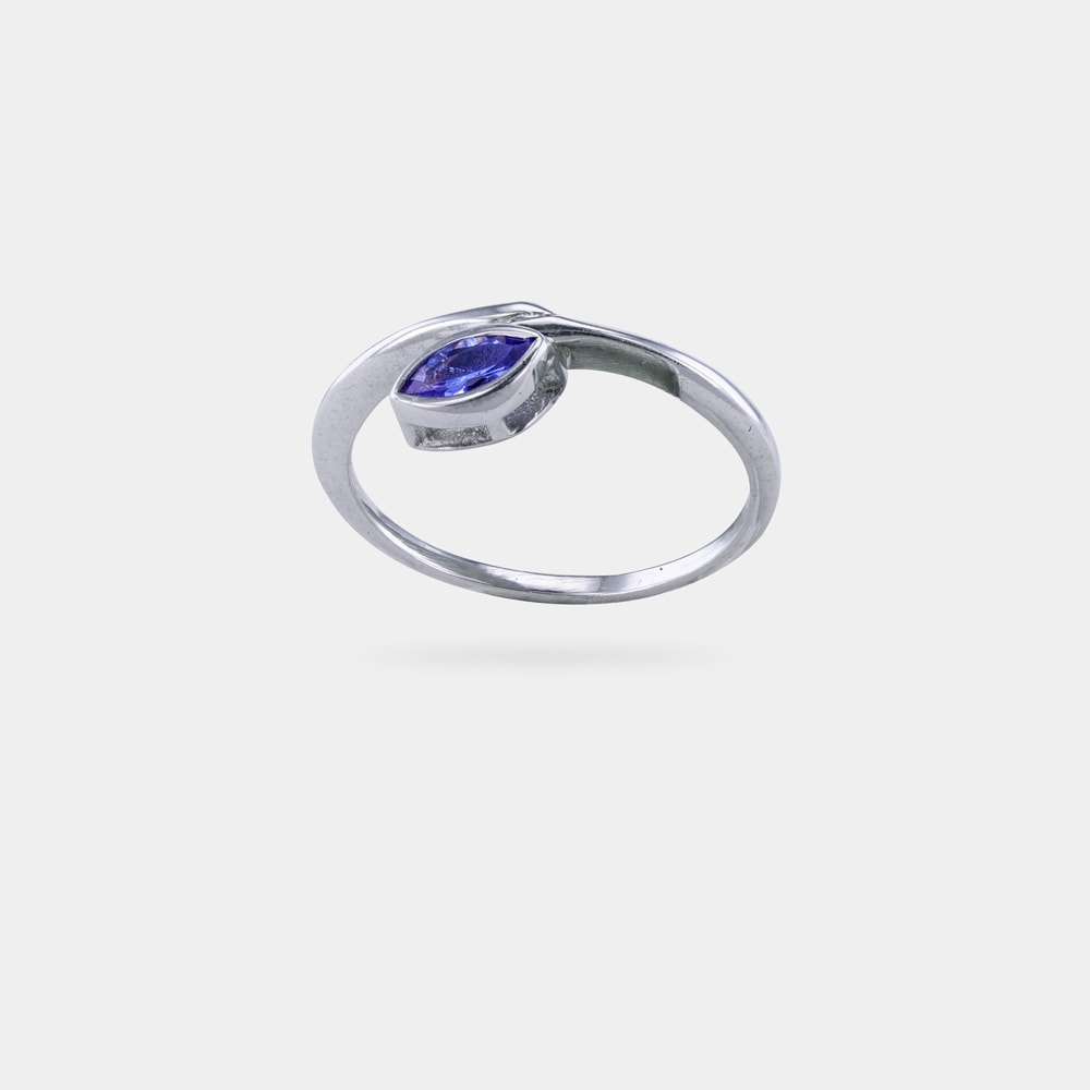 0.28 Carats Marquise Shaped vBL EC Ring with Silver Metal