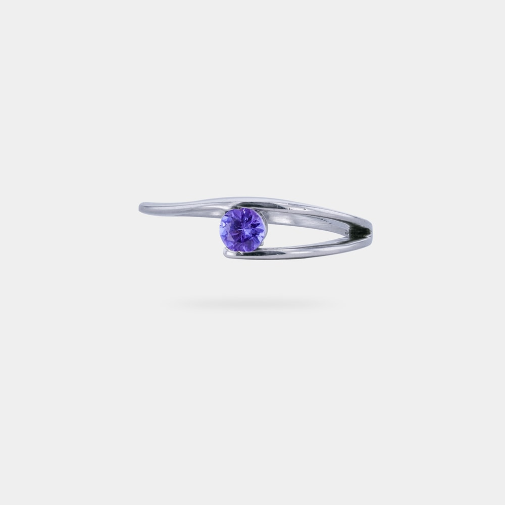 0.28 Carats Round Shaped bVP EC Ring with Silver Metal