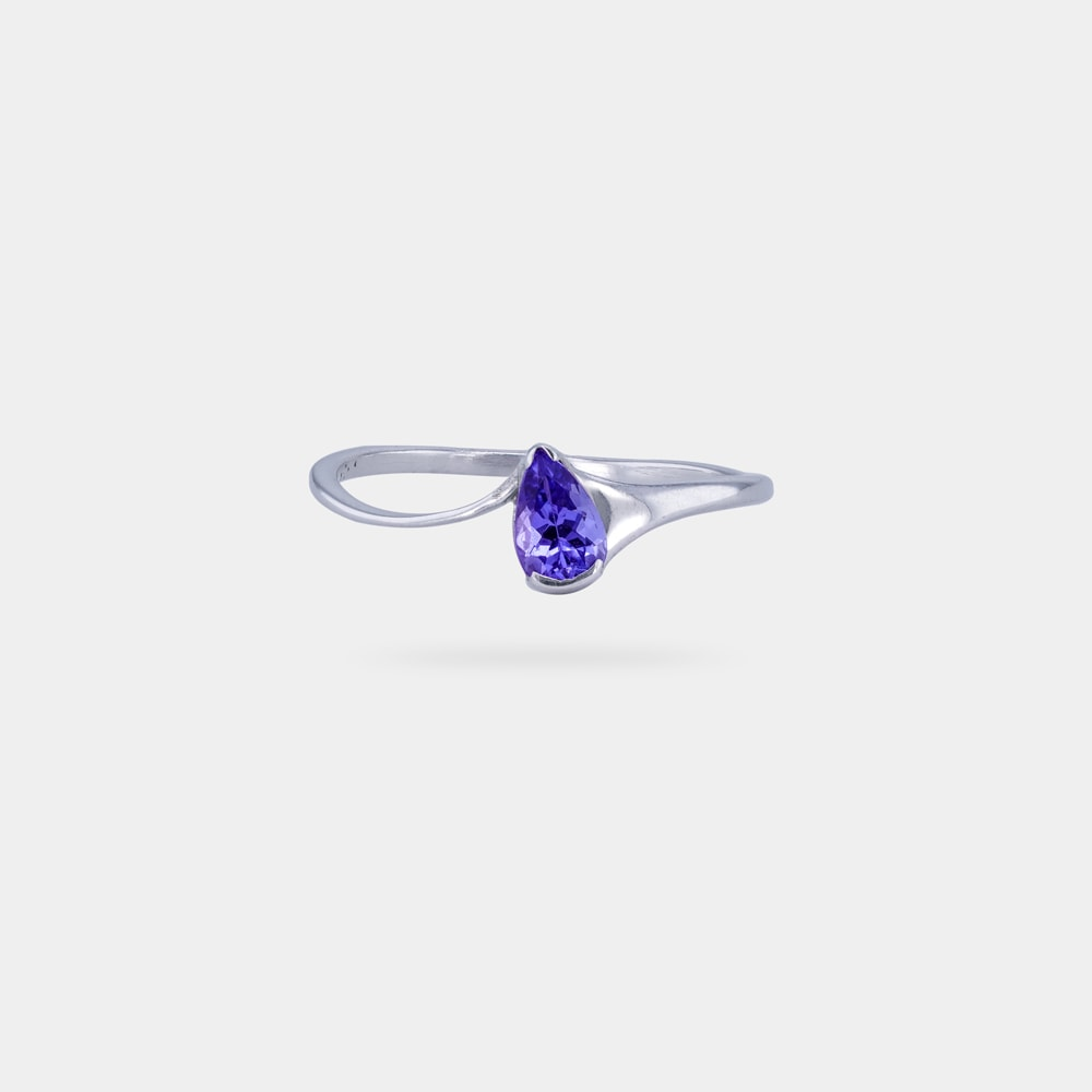 0.42 Carats Pear Shaped bVM EC Ring with Silver Metal
