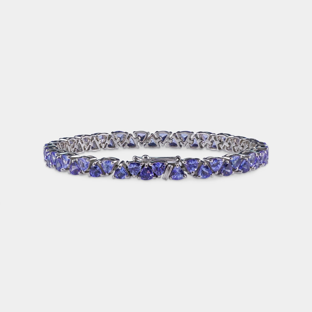 12.75 Carats Trilliant Shaped Silver Bracelet