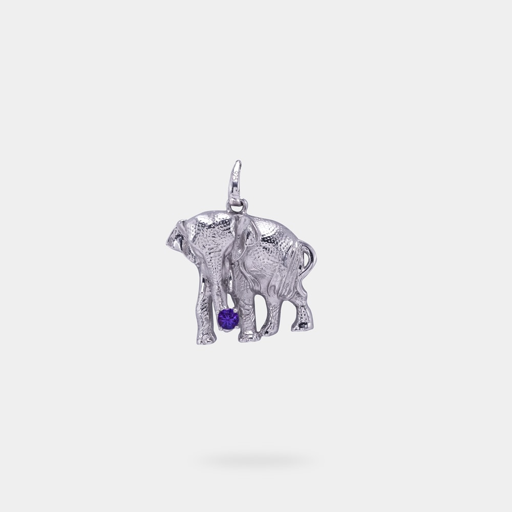 0.20 Carats Round Shaped Pendant with Silver Metal (Full Elephant Design)
