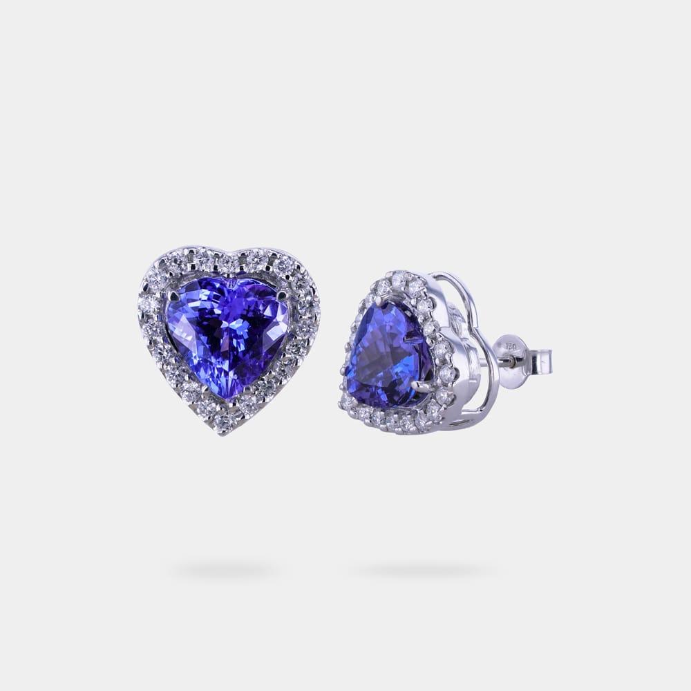 Tanzanite earrings with heart shaped stone