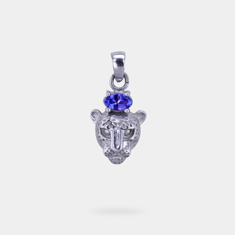 0.26 Carats Oval Shaped Pendant with Silver Metal (Cheetah Head Design)