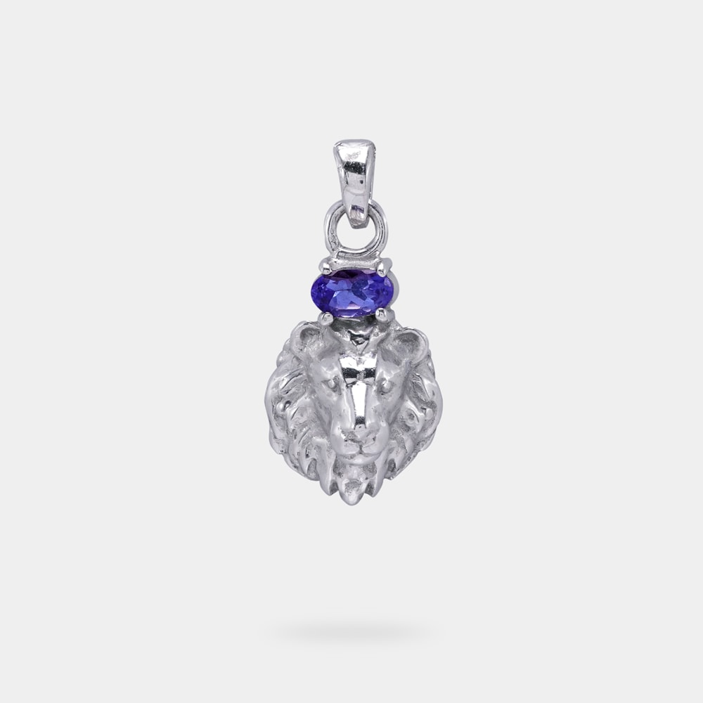 0.26 Carats Oval Shaped Pendant with Silver Metal (Lion Head Design)