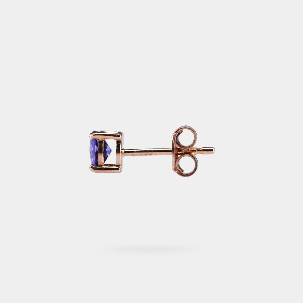 1.00 Carats bVM Round Shaped Earring with Rose Gold Metal