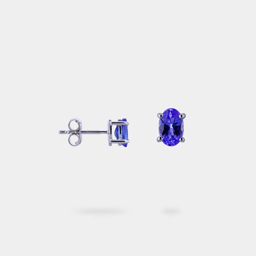 1.00 Carat Oval Shaped bVM Earring with White Gold Metal