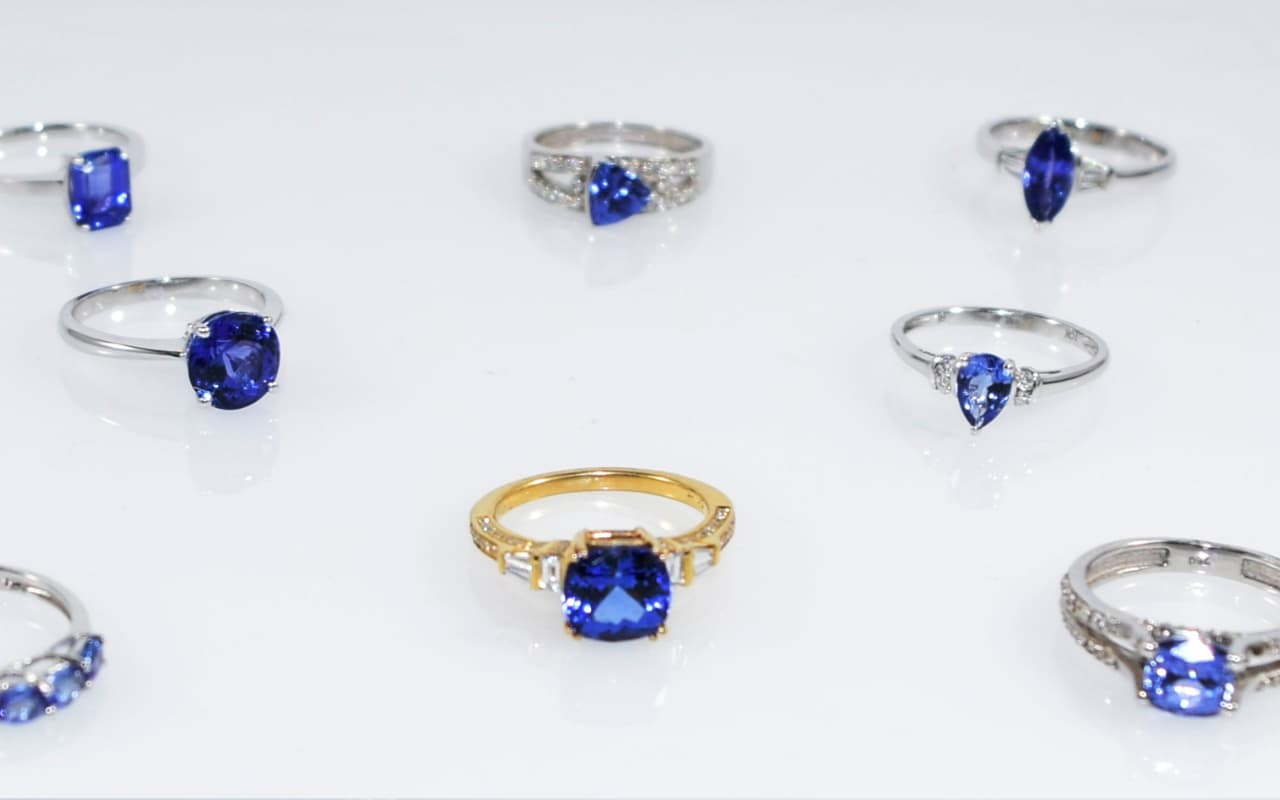 A selection of rings you can get when buying Tanzanite Jewelry online