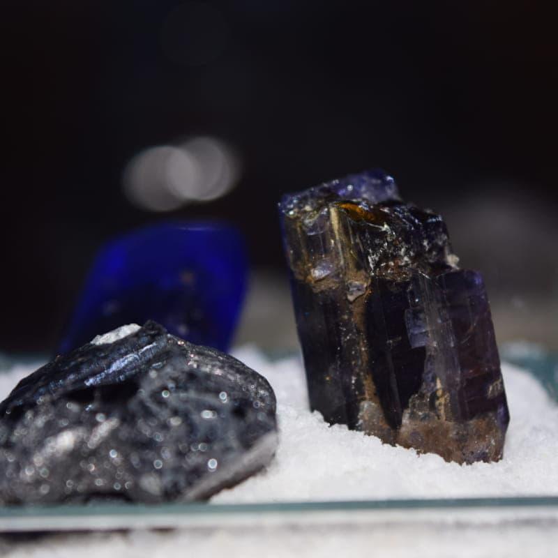 Gemstones on display in the Tanzanite museum
